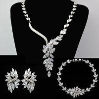 Handmade Sparkling Wedding Jewellery Bridal Set With Zircon Crystal Platinum