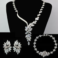 Hand Made Sparkling Wedding Jewelry Bridal Platinum Set With Zircon Crystal