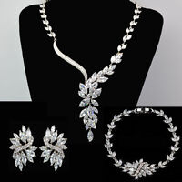 Hand Made Sparkling Wedding Jewelry Bridal Platinum Set With Zircon Crystal