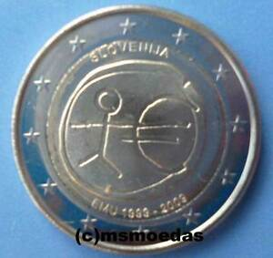 Slowenien 2 Euro Gedenkmünze 2009 Euromünze 10 Jahre Wwu Emu