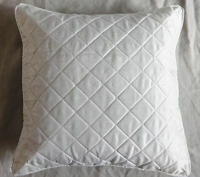 white quilted Pillow case designer couch cushion cover cord piping solid Plain