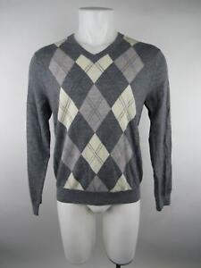 Banana Republic Men's sz M Gray Extra Fine Merino Argyle V-Neck Sweater