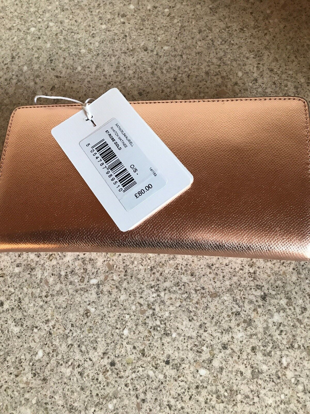 a50bb263b Ted Baker Rose Gold XHATCH Textured Bar Zip Leather Matinee Purse ...