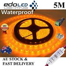 Waterproof Yellow Amber 5050 SMD 300 LED 12V 5M Led Strip Lights Camping Caravan