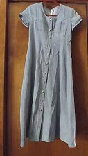 Vintage Cotton Denim Studded Midi Dress Short Sleeve Button Front Tie Back 90's