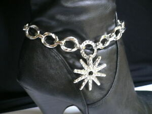 Women-Silver-Boot-Chain-Strap-Texas-Lone-Bling-Star-Western-Shoe-Bracelet-Charm