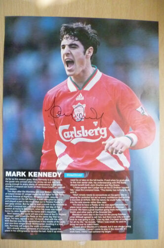 100% Genuine Hand Signed Press Cutting of Liverpool FC Player MARK KENNEDY