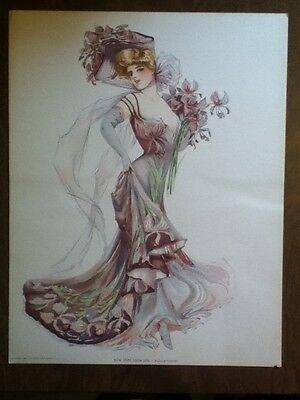 Old Vintage 1907 Antique VICTORIAN PRINT New York Show Girl BROADWAY