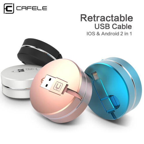 2 in 1 Retractable Micro USB Cable Data Sync Fast Charger For Apple iPhone X 8 7