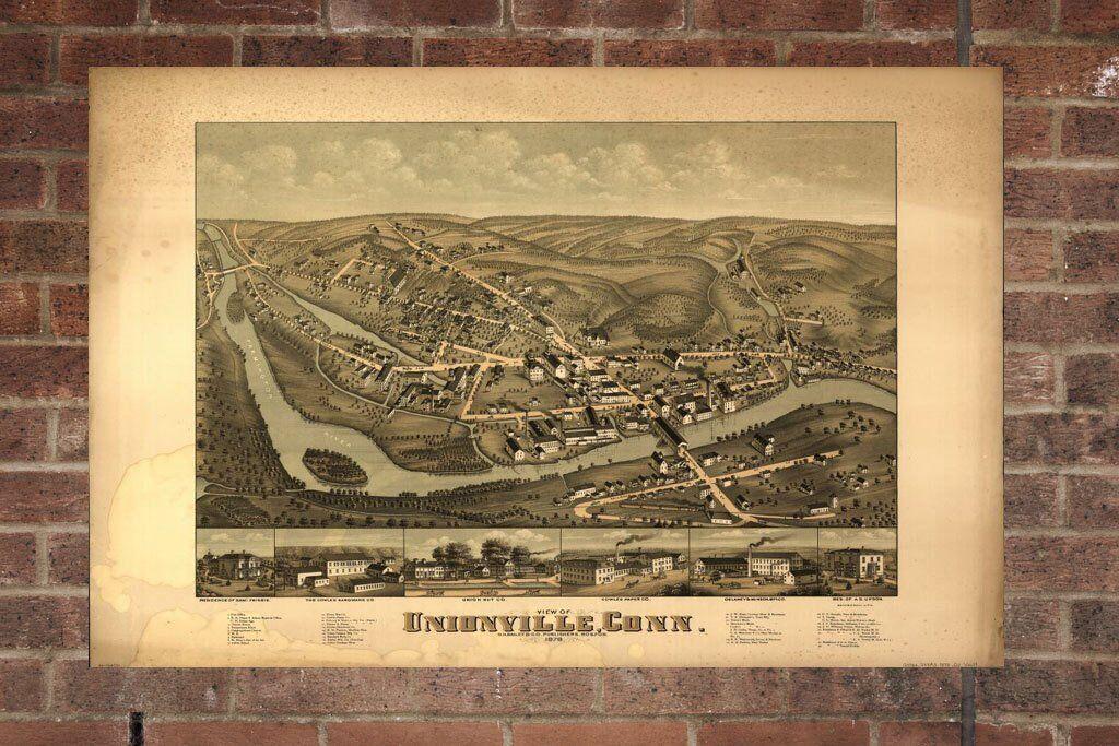 Vintage Unionville Print, Aerial Unionville Photo, Vintage Unionville CT Pic, Ol