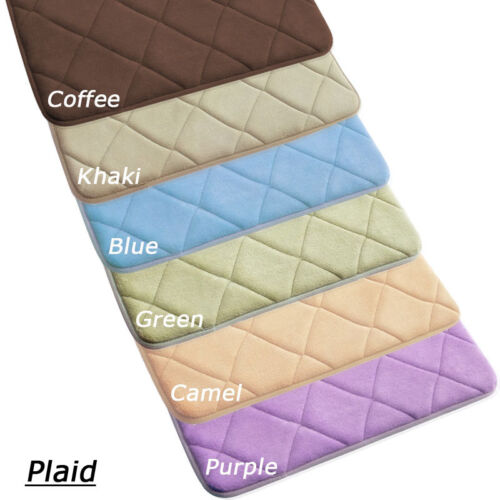 Plaid Non-Slip Water-aborbing Memory Foam Bedroom Bath Toilet Mat Rug Carpet