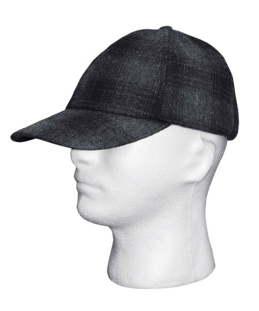 JOHN VARVATOS Plaid Warm Merino Wool Baseball Cap Hat in Black Gray Size S  a6cc85fbf75