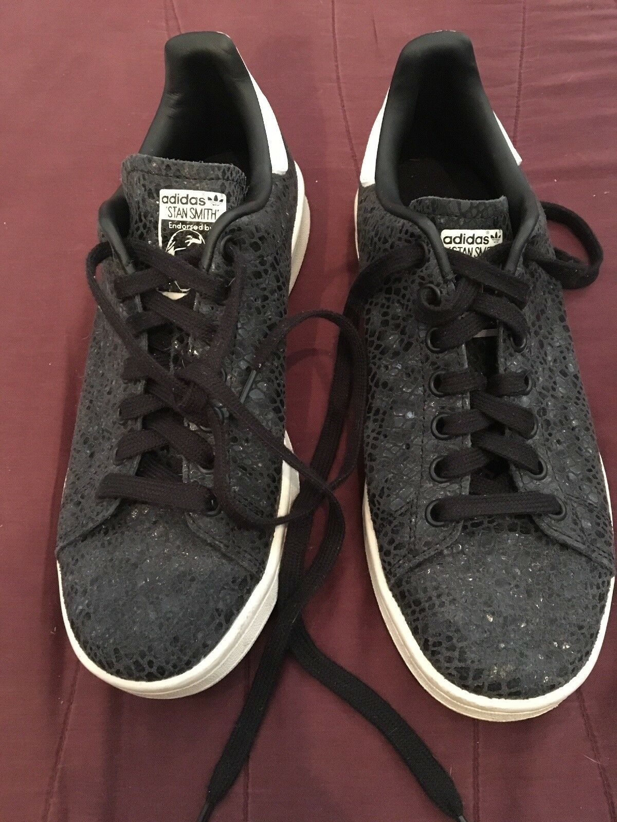 Adidas Stan Smith Womens shoes S77344 Black Snake Emb. Leather US 7.5.