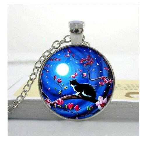 Cat Cabochon Pendant Necklace Black Cat Pagan Wiccan Witch Moon /& Gift Bag
