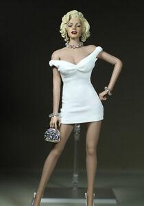 """1:6 Scale White Long Sleeve Hip Skirt Dress Model For 12/"""" Phicen Female Body"""