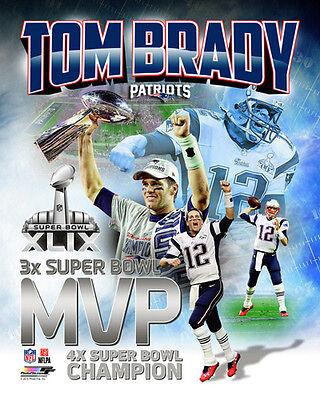 TOM BRADY THREE-TIME SUPER BOWL MVP New England Patriots Premium Poster  Print b3a892d26