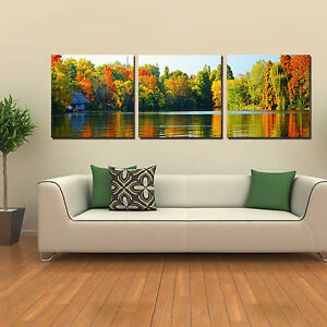 Image Is Loading FALL LAKE Ready To Hang Triptych Wall Art