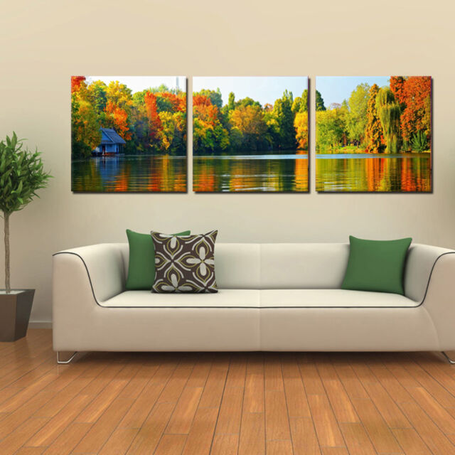 falllake ready to hang triptych wall art print mounted mdfimproved canvas arts