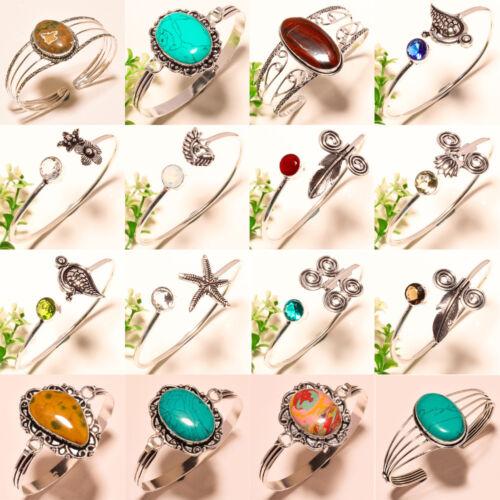 Livraison gratuite Rhyolite Mix Pierre Précieuse 925 Silver Overlay Jewelry Cuff-Bracelet 7