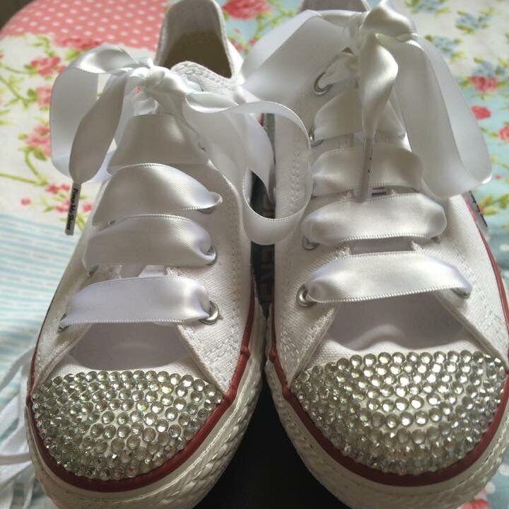 Customised Bling 3-8 crystal Diamanté lo Converse Größe 3-8 Bling weddings bridesmaids New 09118c