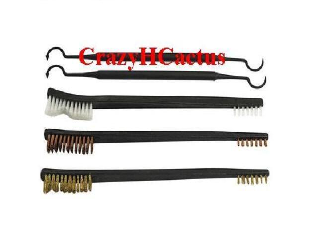 5 Piece Gun Rifle Pistol Cleaning Brushes Brush Kit Set Copper/Brass/Nylon+Picks