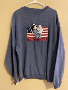 Polar Dogs Big Dog Freedom Isn't Free Sweatshirt Memorial Day Vintage Mens XL