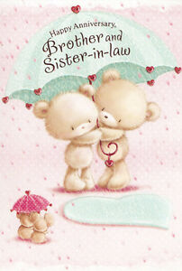 Brother And Sister In Law Cute General Wedding Anniversary Card Ebay