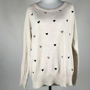 TORRID Women Beige Heart Shape Embroidered Print Long Sleeve Sweater sz 00