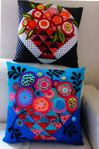 PATTERN - Bloomin' Basket Cushions - applique & pieced PATTERN - Flying Fish