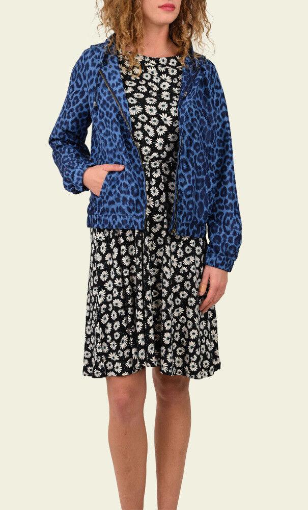 King Louie Kleid Cross Dress Meadow Blaumen floral schwarz weiß 01823