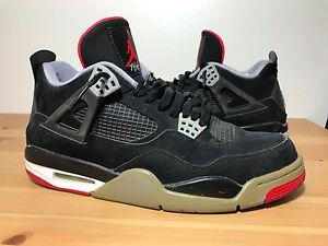 sports shoes 83cf6 7bf46 Image is loading Jordan-Retro-IV-Bred-4-Black-Cement-Grey-