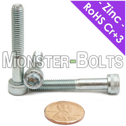 12.9 Alloy Steel Cr+3 Bake DIN 912 M6-1.0  Zinc Plated Socket Head Cap Screws