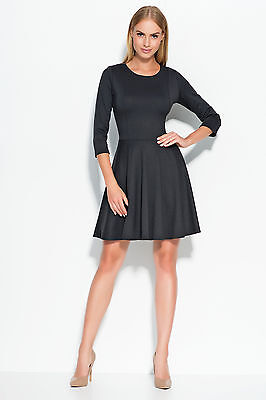 Ladies Work Office Semi-Formal A-Line 3/4 Sleeve Crew Neck Skater Dress FA519