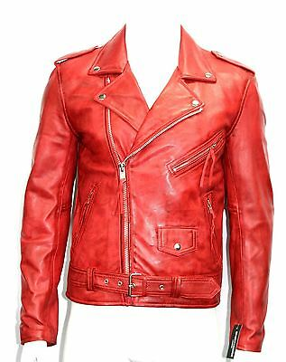 BRANDO SLIM FIT Men/'s Red Designer Fitted Real Lambskin Leather Biker Jacket