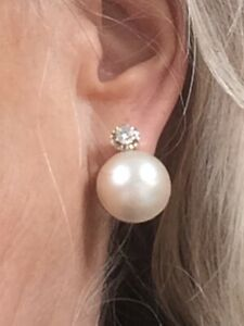 Mabe Pearl And Diamond Antique Earrings