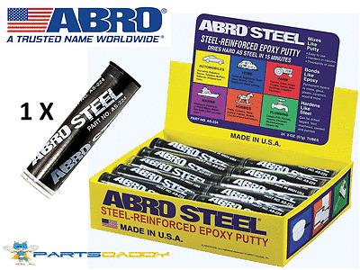 Abro Steel QuickSteel Reinforced Epoxy Metal Instant Repair Putty Weld 2OZ AS224