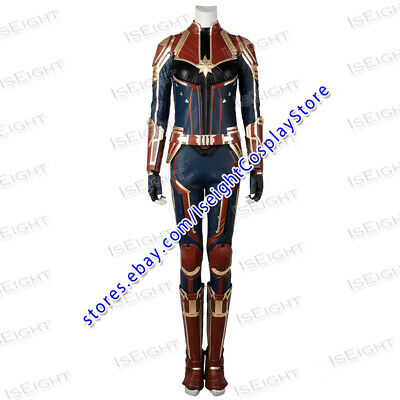 Captain Marvel Film Cosplay Captain Marvel Costume Red Jumpsuit Uniform Outfit Ebay This red and navy collarless jacket features a metallic gold design based on her captain marvel costume. ebay