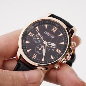 COCOTINA-Damen-Herren-beilaeufige-Quarz-analoge-Uhr-Leder-Band-Armbanduhren-Super