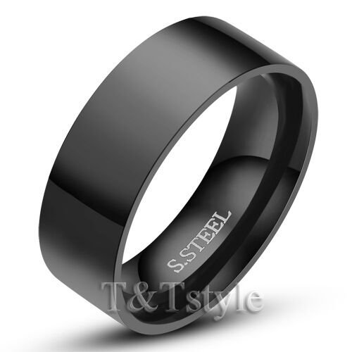 UNIQUE T&T THICK BLACK Stainless Steel RING Size 10 NEW