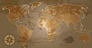 World Map Atlas Globe Earth Compass Art Print Photo Canvas Poster