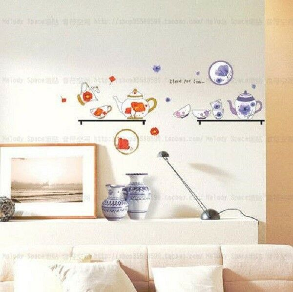 Tea sets Home Decor Removable Wall Sticker Decal Decoration Vinyl Mural