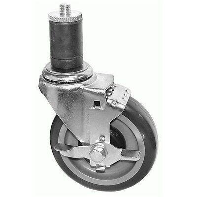 "Set of 4 Work Table Casters 5"" Polyurethane Wheel w/ brake KS5113, 330LBs Cap."
