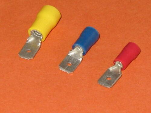 Rojo Azul Amarillo macho Spade terminales de crimpeado aislados Qty = 25 Ea