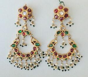 Image Is Loading Vintage Antique 20k Gold Diamond Polki Ruby Emerald