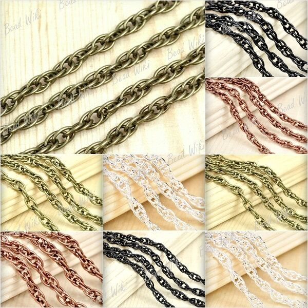 4m 2m Iron Antique Brass Copper Silver Black Woven Curb Unfinished Chain BWCH15