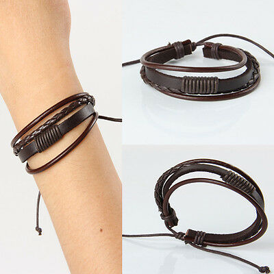 Retro Punk Handmade Mens Leather Surfer Braided Wristband Multilayer Bracelet