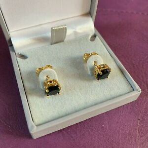 Black-tourmaline-gold-stud-earrings-18k-gold-GF-7mm-diameter-cz-BOXED-Plum-UK