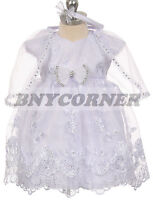 New Baby Girls Baptism Christening Gown Easter Wedding Flower Girl White Dress