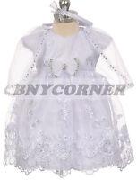 New Baby Girls Baptism Christening Gown Easter Wedding Flower Girl White Dress
