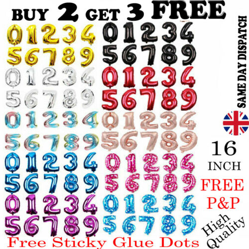 """16/"""" Giant Foil Number Balloons Letter Birthday Age Party Wedding Helium Events"""